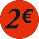 """Gommettes adhésives """"2€"""""""