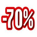 """Carton découpé """"-70%"""""""