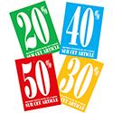 Assortiment étiquettes à trou -20% / -30% / -40% / -50%