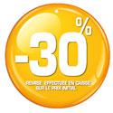 """Etiquettes à trou rondes """"-30%"""""""
