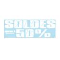 """Sticker """"Soldes jusqu'à -50%"""""""