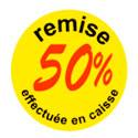 """Gommettes adhésives """" remise 50 % """""""