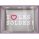 "Sticker vitrines ""I love les Soldes"""