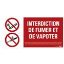 """Plaque """"Interdiction de fumer et de vapoter"""""""