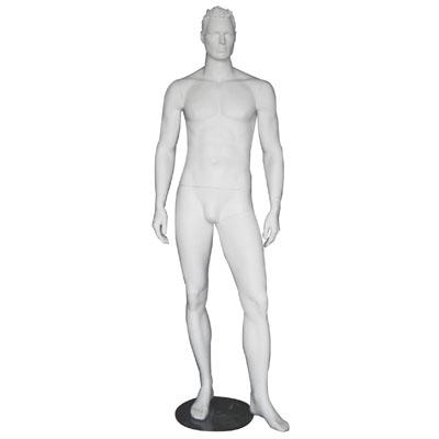 Mannequin homme, cheveux sculptés, bras le long du corps
