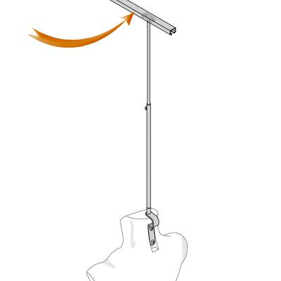 Rail de fixation plafond pour buste for Fixation ventilateur de plafond