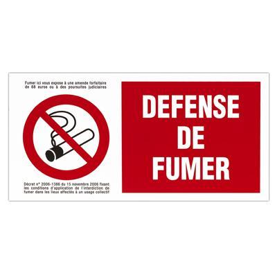 Plaque de signalisation Défense de fumer