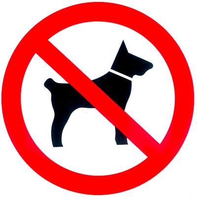 Plaque de signalisation Interdit aux chiens