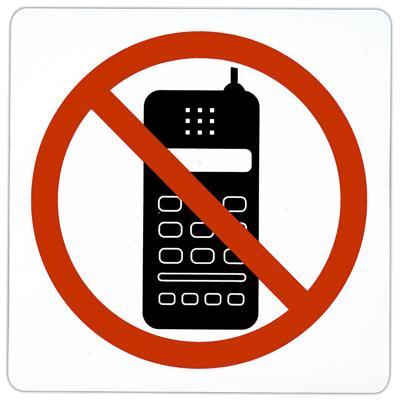Pictogramme adhésif Portable interdit