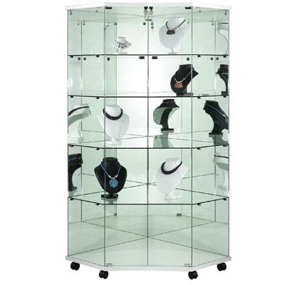 Vitrine d'angle en verre trempé + fond miroir