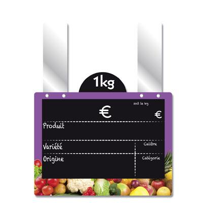 Étiquettes ardoise fruits et légumes, à pattes