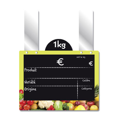 Étiquettes ardoises fruits et légumes, à pattes