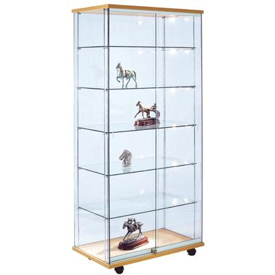 vitrine verre tremp d cor h tre naturel l 80 x p 46 x h 180 cm. Black Bedroom Furniture Sets. Home Design Ideas