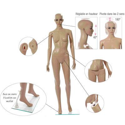 Mannequin femme sans perruque, jambe droite en avant