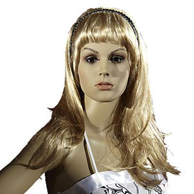 Perruque femme cheveux longs blondsavec frange