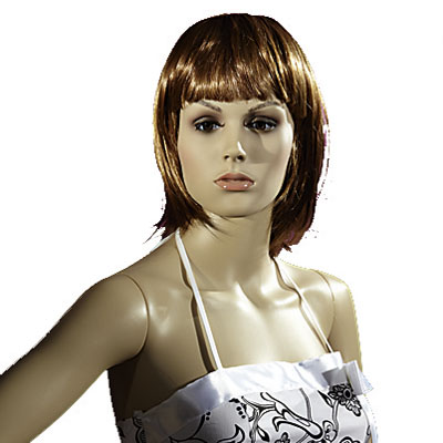 Perruque femme cheveux mi-longs châtains avec frange