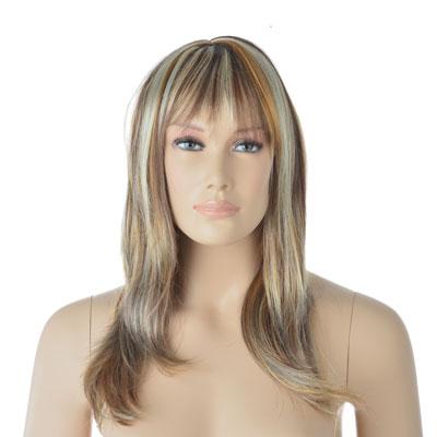 Perruque femme cheveux longs blonds méchés