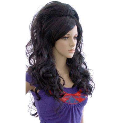 Perruque femme cheveux longs noirs