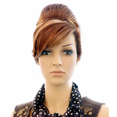 Perruque femme chignon cheveux châtains