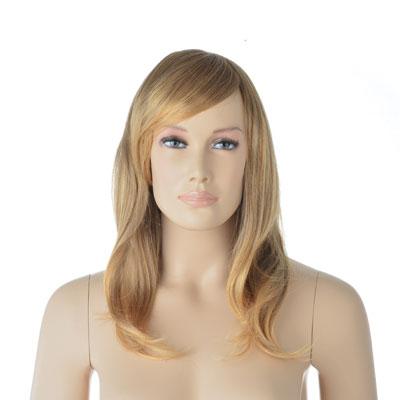 Perruque femme cheveux longs blonds avec mèche