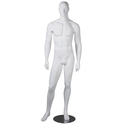 Mannequin homme, tête et cheveux sculptés, bras le long du corps