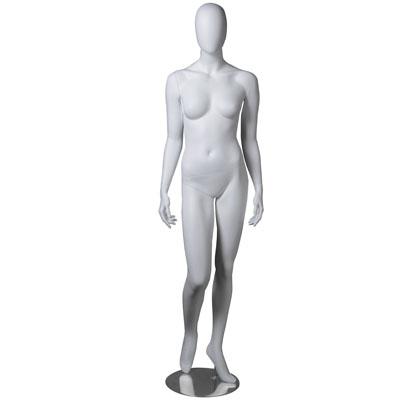 Mannequin femme, finition mate, bras le long du corps