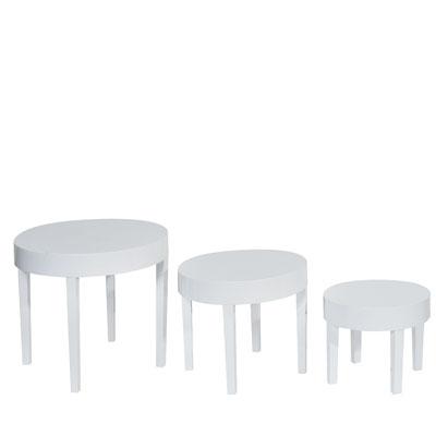tables gigognes rondes laqu blanc h 30 40 et 50 cm. Black Bedroom Furniture Sets. Home Design Ideas