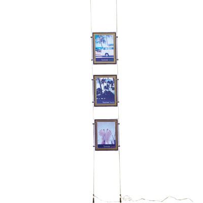 Présentoir 3 porte-affiches A4 sur câbles à LED