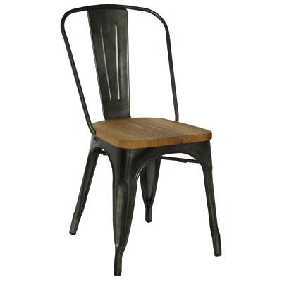 Chaise métal assise bois