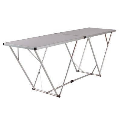 table pliante gris alu et blanc l 198 x p 60 x h 80 cm. Black Bedroom Furniture Sets. Home Design Ideas