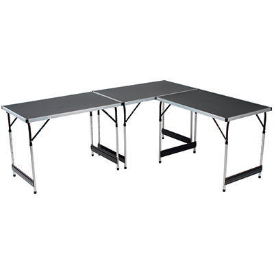 Lot de 3 tables pliantes gris alu et noir l 100 x p 60 x h - Tables pliantes castorama ...