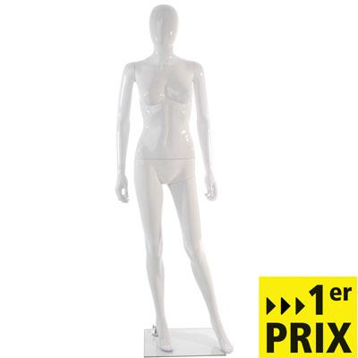 Mannequin femme en plastique finition laquée, bras le long du corps