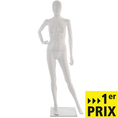Mannequin femme en plastique finition laquée, main droite sur la hanche