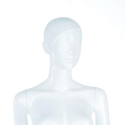 Mannequin femme cheveux sculptés, finition laquée