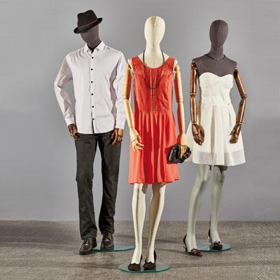 Mannequin homme vintage sans bras, jambe droite devant