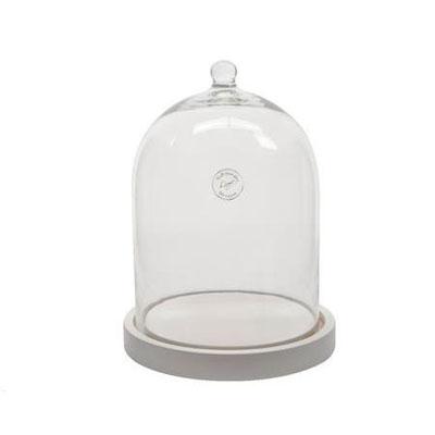 Cloche en verre avec socle blanc