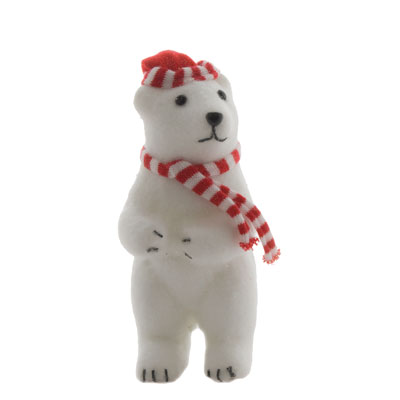 Ours debout avec bonnet et écharpe rouge