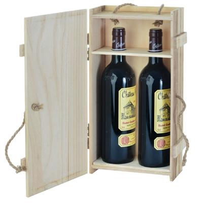 Caisse en bois 2 bouteilles