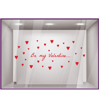 Sticker vitrine Be my Valentine