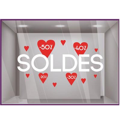 Sticker vitrines Soldes coeurs