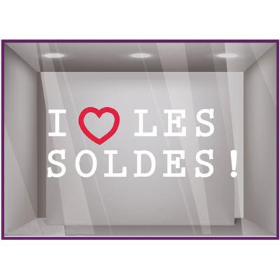 Sticker vitrines I love les Soldes