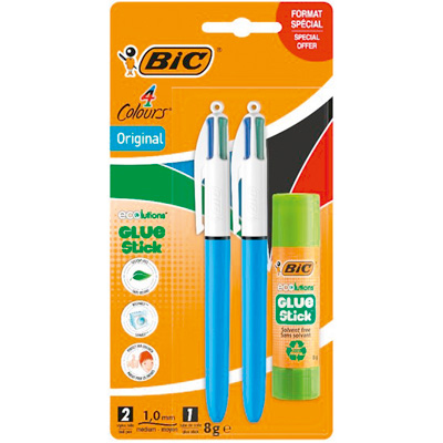 Stylo Bic 4 couleurs + colle