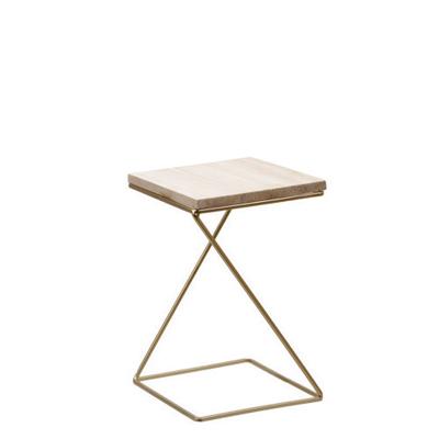 Table métal doré et bois