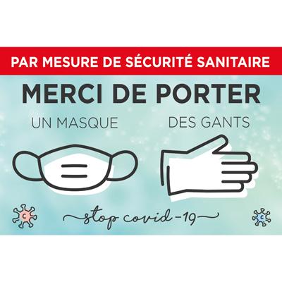 Pancarte Masque et gants obligatoires