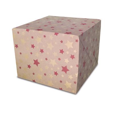 Papier cadeau de Noël Étoiles rouges et or