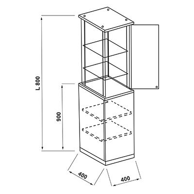 Vitrine colonne + meuble de stockage