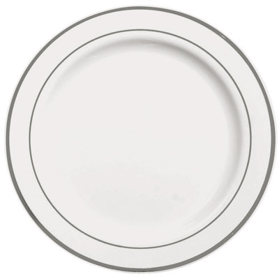 Assiettes Blanches liseré Argent