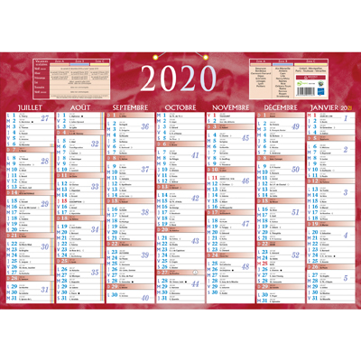 Calendrier 2 faces 2020