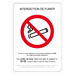 Panneau adhésif interdiction de fumer