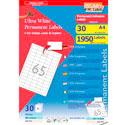Étiquettes adhésives APLI blanches permanentes/planche A4
